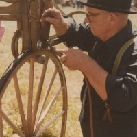 Everett Berndtson Works on a Carriage